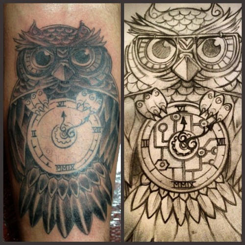 One more session to finish up the clock and a few highlights @bgold_  owl. #artisticelement2 #petertattooist #peterkoskela #owl #steampunk #steamtech