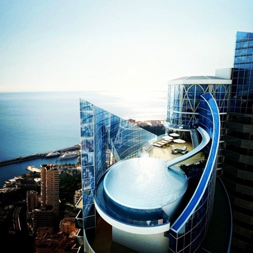 World's most expensive penthouse. See it at www.PriceyPads.com #penthouse #tower #monaco #architecture #design #mansion #pool #waterslide #money #rich #view
