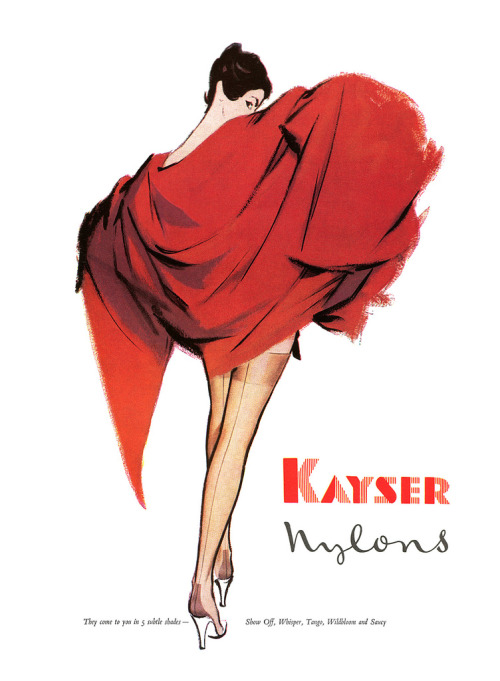 Kayser Nylons advertisement. (by totallymystified) From Vogue magazine, March 1956.