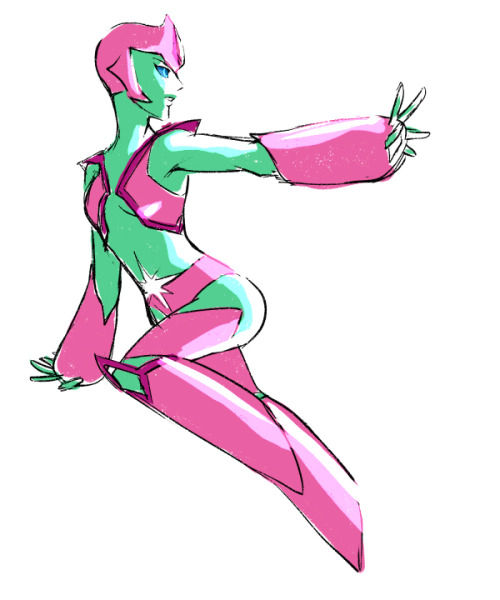 t1mco:   Anonymous asked you: Can you draw Aya as a Star Sapphire? :3  I dunno. Can I? I know Pink+Green is this color combo glorified by Victoria's Secret+PINK but I was never huge on it. Then again, I also dislike the models that VS insist go in their catalogs so it wouldn't be the first time we've had a disagreement about something. idkkkkk Star Sapphires have such a pointy aesthetic and Aya is all cute round shapes and stuff oh welp fun design activity