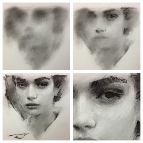 caseybaugh:  Charcoal stages. $200-Sold #art #charcoal