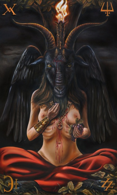 "maliceinthevoid:  BAPHOMET Symbol of the satanic goat. BAPHOMET is portrayed as a half-human, half-goat figure, or a goat head. The origin of the name BAPHOMET is unclear. It may be a corruption of Mahomet or Muhammad. The English occult historian Montague Summers suggested it was a combination of the Greek words, baphe and metis, or ""absorption of knowledge."" BAPHOMET has also been called the Goat of Mendes, The Black Goat, and the Judas Goat. In the Middle Ages, BAPHOMET was believed to be an idol, represented by a human skull, a stuffed human head, or a metal or wooden human head with curly black hair. The idol was said to be worshipped by the Order of the Knights Templar as their source of fertility and wealth. The best-known representation of BAPHOMET is a drawing by the 19th-century French magician Eliphas Levi, called ""The Baphomet of Mendes."" Levi combined elements of the tarot devil card and the he-goat worshipped in antiquity in Mendes, Egypt, which was said to fornicate with its women followers-as the church claimed the Devil did with witches. The Church of Satan, founded in 1966 in San Francisco, adopted a rendition of BAPHOMET to symbolize Satanism. The symbol is goat's head drawn within an inverted pentacle, enclosed in a double circle. In the outer circle, Hebraic figures at each point in the pentagram spell out LEVIATHAN, a huge water serpent demon associated with the Devil."
