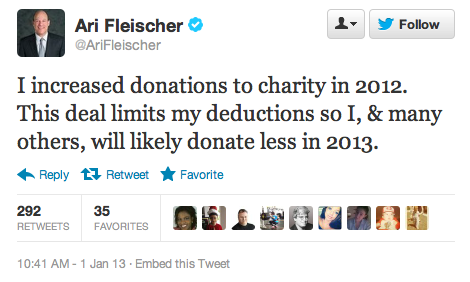 "So, he's basically saying: ""I'm donating less because the government won't pay me to."" What a douche."
