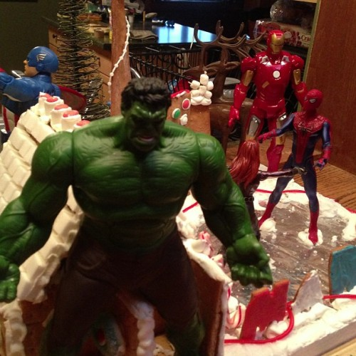 Best Ginger Bread house EVER! #smash #hulk #spidey #marvel #comics #blackwidow #captainamerica #avengers