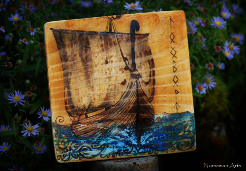 norsemanarts:  Longboat Wood Burning by Norseman Arts.  My Facebook.