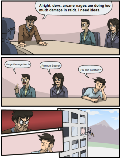 How development meetings for this patch's PTR are going… [x-post from /r/wow]