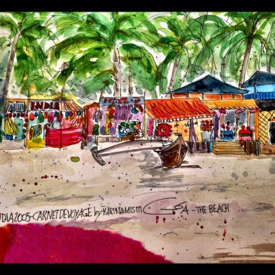 Goa in mymind…  Goa, the beach, 2005. (Watercolor, collage by Marina Misiti)