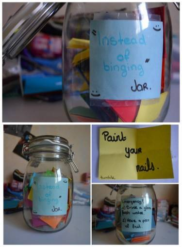 "healthyhappykali:  The ""Instead of Binging Jar"" was one of the best things to happen to me. I have suffered with a binge eating disorder for many years now and I honestly thought that I could never escape it but this idea has been such a big help.To make the ""Instead of Binging Jar"", simply find a jar and decorate it however you please. What matters the most is what you put inside of it. You will take small pieces of paper and write something to do in place of binging on each one. Every time you feel a binge coming on, pick one of the pieces of paper and DO WHATEVER IT SAYS. Continue to pick papers until the feeling is gone. Feel free to use some ideas from the following list. :)Instead of Binging: Drink a glass of water. Do a 15 minute workout. Take a walk outside. Start reading your favorite book. Take a bubble bath. Paint your nails. Watch your favorite television series/movie. Clean or re-organize your house. Call your best friend or significant other. Look through inspirational posts on Tumblr. Add a new blog post. Make a Youtube video. Go for a drive. Listen to relaxing music. Write a letter to yourself. Stretch. Make a healthier snack. Sing a song. Dance around the room like a dork. The biggest thing to remember is that food does not control you. You are stronger than any binge. If you ever start feeling like you may binge, PLEASE feel free to message me or someone you trust. I will be here for you until the feeling has passed.. NO MATTER HOW LONG IT TAKES."