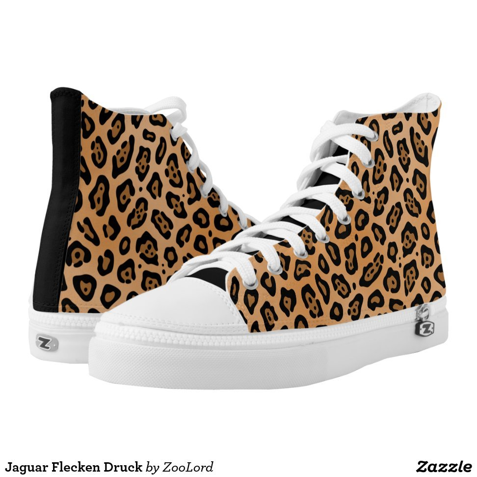 Jaguar Flecken Druck High-Top Sneakers - Unique Canvas Shoes With Interchangeable Tops  External image  Buy This Design Here: Jaguar Flecken Druck High-Top Sneakers Created by Fashion Designer: ZooLord Look sporty, stylish and elegant in a pair of unique custom sneakers! Each pair of custom Low Top ZIPZ Shoes is designed so you can fit your style to any wardrobe, mood, party or occasion. Fashionable sneakers for kids and adults, ZIPZ shoes give you a unique and personalized way to express yourself!Jaguar Flecken Druck High-Top Sneakers Product Information - Unisex sizing: 4-13 Men's | 6-15 Women's - Material and fabric: Durable canvas tops, rubber soles - Buy multiple pairs! ZIPZ shoes are interchangeable, the top cover can be zipped on and off so you can easily switch up your style on the go - Rubber soles are manufactured with extra cushioned insoles and a specially designed arch support system to give your feet a comfortable and healthy fit - Quality you can trust: ZIPZ has been independently tested by SATRA for wear, use, and durability - Additional cost for designing on the tongue of the shoe - Jaguar Flecken Druck High-Top Sneakers are printed in Santa Fe Springs, CA #sneakers#shoes#footwear#style#fashion#sports#fashionista#OOTD#streetwear#fashionblogger