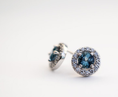 Montana sapphire and diamond earrings J ALBRECHT DESIGNS