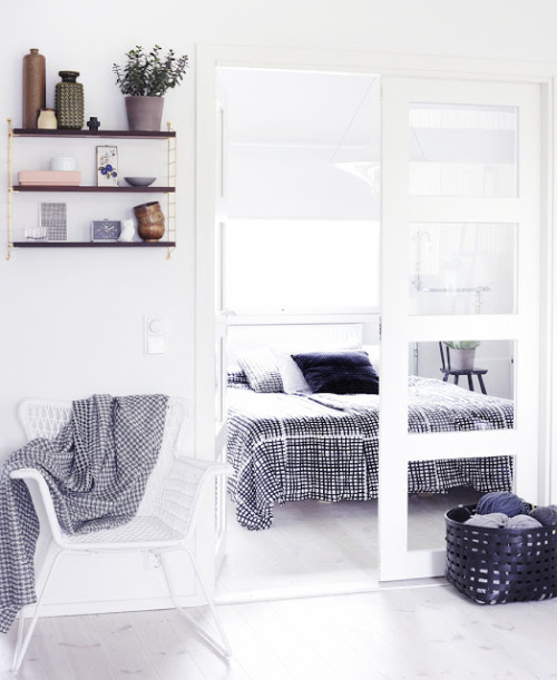 myidealhome:   white and light  Love the arrangement on the shelves, so cute.