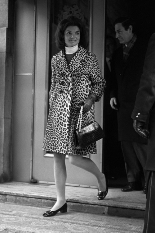 Jackie Kennedy stepping out.