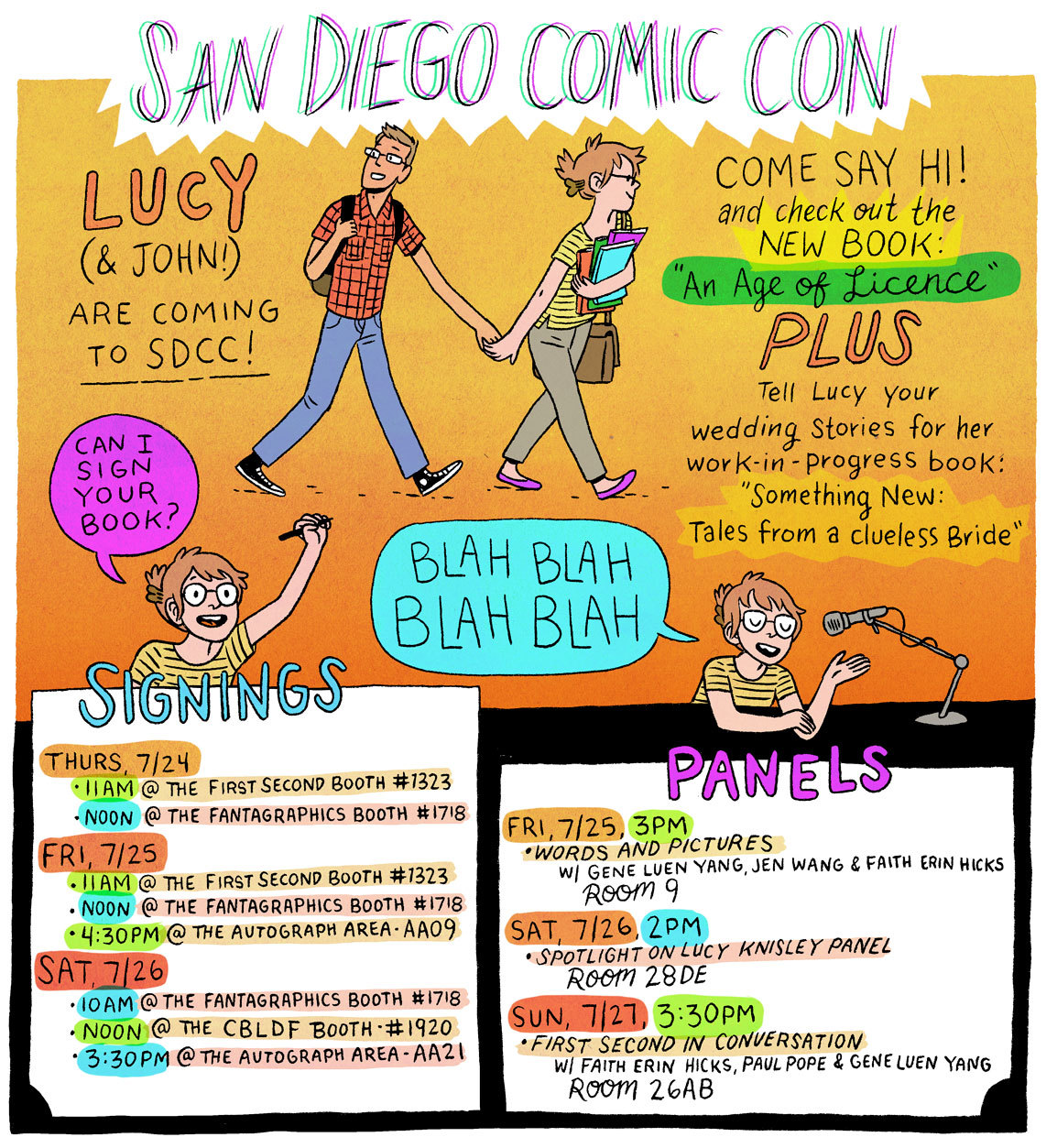 SDCC! I've never been! It's going to be a busy week, but I hope I get to eat all the food and meet lots of friendly people. A nice (if hectic!) change of pace from wedding planning and teaching and working! Please come say hello and speak to me in a soothing voice— I'm working on fou