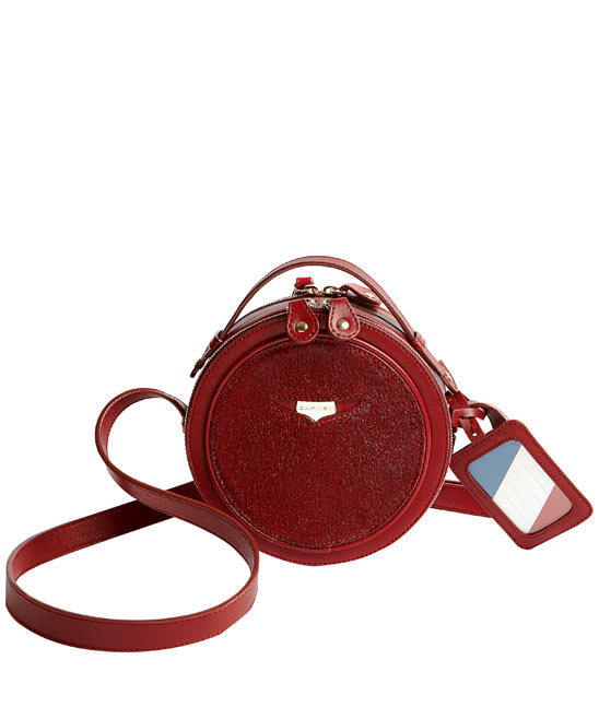 Carven Burgundy Patent Leather Circular Bag