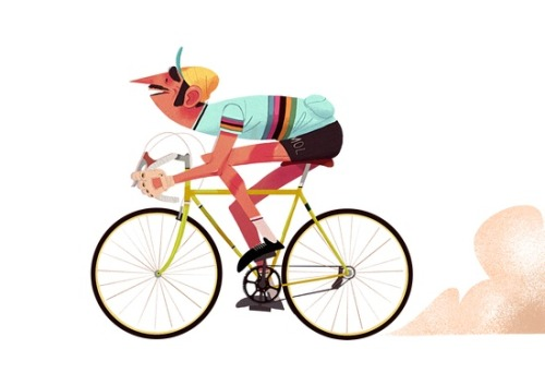 storypanda:  A speedy cyclist | Illustration by Maxime Mary