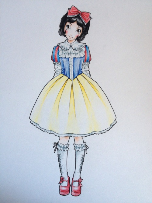 faxxis-art:  Well okay, here is Lolita Snow White. Pretty simple and everything but I thought it might work out anyway. You decide for yourself about that though.