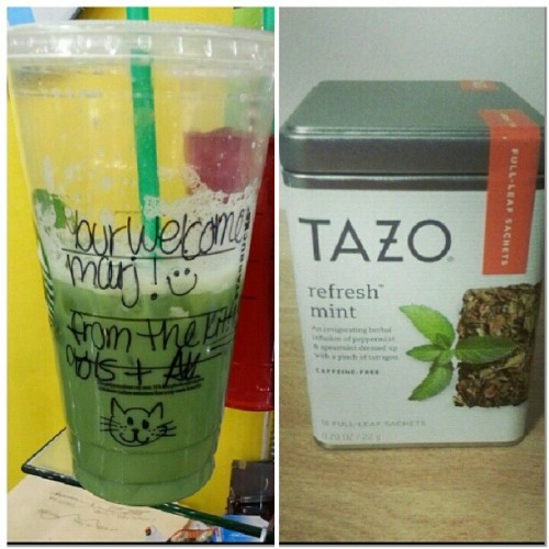 @luckybune is the absolute best! #mahalkita #icedgreentealatte #kitties #tazo <3 :))