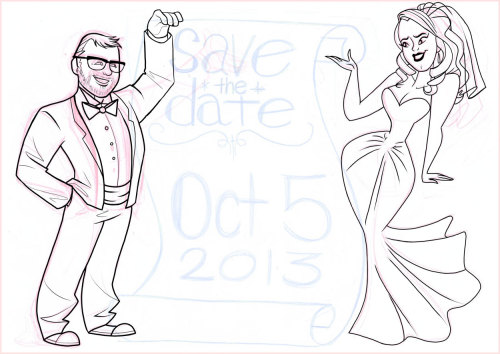 Inking Emily and John's save the date…