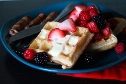 foodopia:  waffles with brie and berries: recipe here