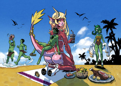 Fantasy beach trip coloreddd! (Now I'll sleep). Was a lot of fun to paint clouds and sand and stuff. Manga Studio, Photoshop
