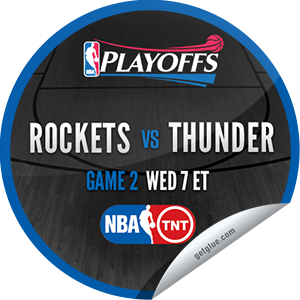 I just unlocked the 2013 NBA Playoffs: Rockets vs. Thunder #2 sticker on GetGlue                      1899 others have also unlocked the 2013 NBA Playoffs: Rockets vs. Thunder #2 sticker on GetGlue.com                  You are now watching game 2 of Houston Rockets vs. Oklahoma City Thunder in the 2013 NBA Playoffs Conference Finals on TNT. Thank you for tuning in and enjoy.  Share this one proudly. It's from our friends at Turner Sports.