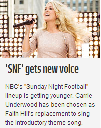 I thought it was bad news when Faith Hill was stepping down… Yay for Carrie!