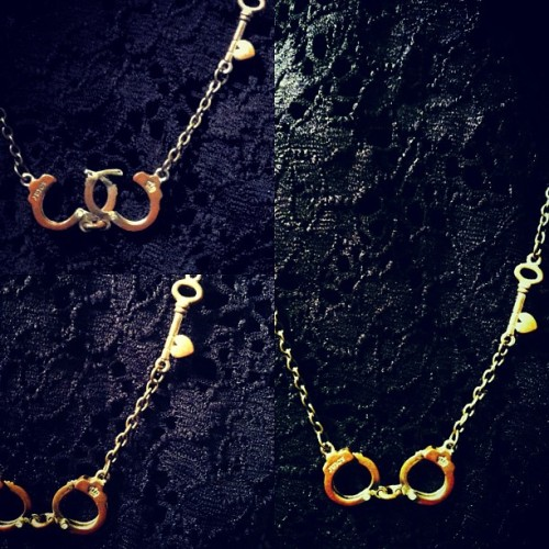 Working handcuff necklace / embedded with teeny tiny zircon diamonds and little heart key. Brass and non nickel metal. Refurbished Jewelry pieces #fetish #handcuff #jewelry #key
