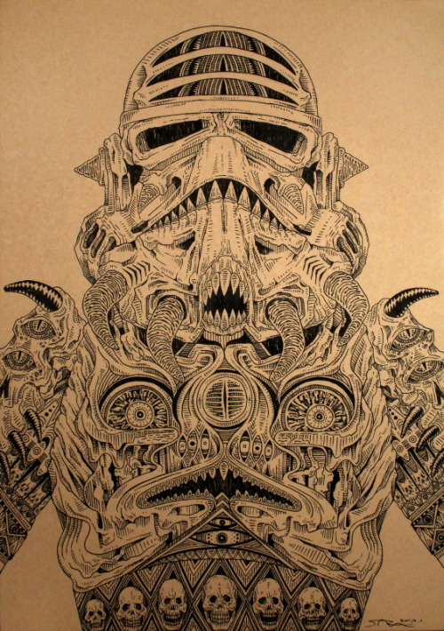 laughingsquid:  Skull Wars, A Stormtrooper and Boba Fett From 'Star Wars' Redesigned as Skull-Like Figures