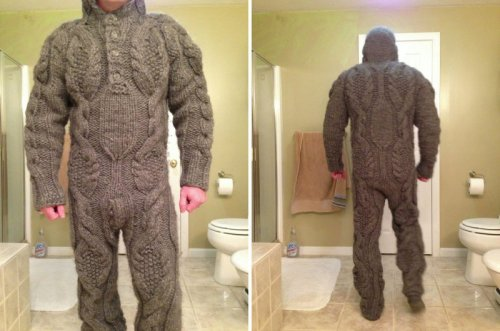 Weird Full Knitted Body Suit   The only way to make love like a man.