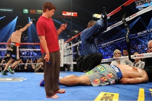 Eli gets up close and personal following Juan Manuel Marquez's knockout of Manny Pacquiao