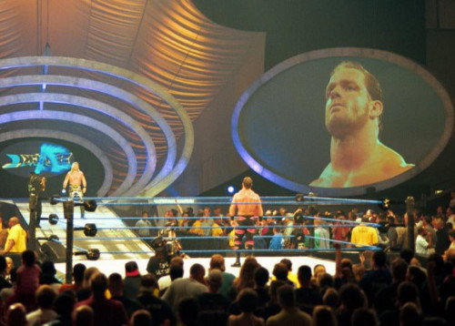 Chris Benoit Stares as Chris Jericho Walk Towards the Ring - WWF SmackDown [10/5/2000] God… I absolutely loved the old SmackDown set.