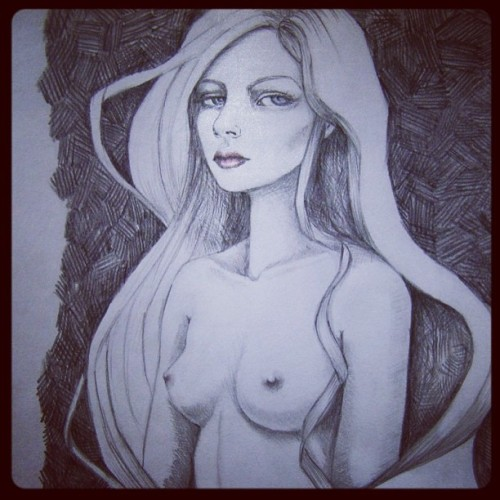 """She"" graphite drawing for the Draw show. *Sold!  Thank you @augusteclown  gallery ☺#art #artist #gallery #draw #woman #instagood #artistsoninstagram #instamood #hair"