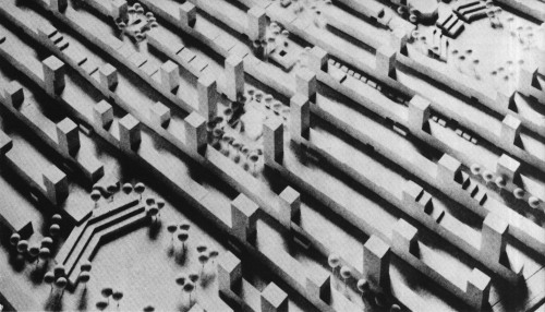 fuckyeahbrutalism:  Proposal for a Residential Area, Ruhwald, Germany, 1964 (Stefan Wewerka)