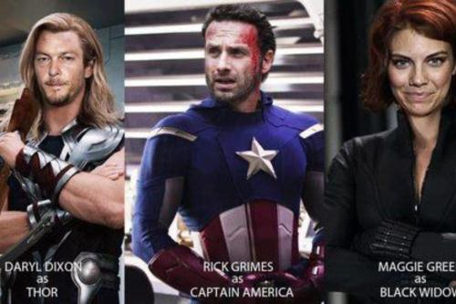 Avengers…ASSEMBLEEEEE! Heh.. The Walking Avengers