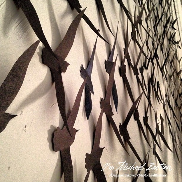"""Origami bird installation going up now""– xMB  #DesignerTakeover #MrMichaelBastian #nyfw #attheshows"