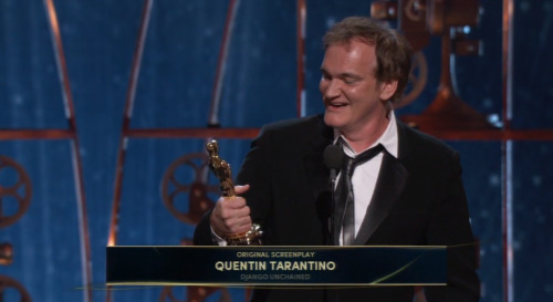 Quentin Tarantino wins for Best Screenplay for Django Unchained.