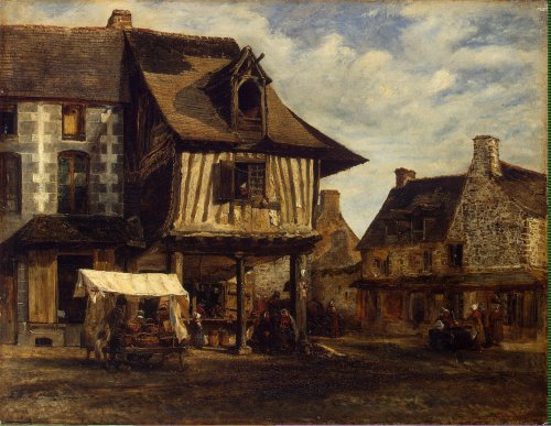 poboh:  Market-Place in Normandy, Theodore Rousseau. French Barbizon School Painter (1812 - 1867)