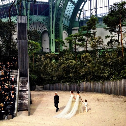businessoffashion:  Karl and the brides at @chanel couture (at Grand Palais)