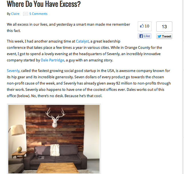 Where do you have excess? Check out this article on Sevenly's Night of Generosity and our Chief World Changer, Dale. Click HERE to read the full version!