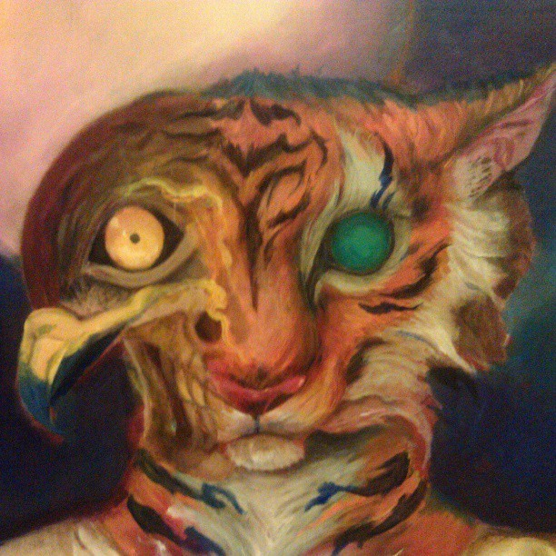 #oilpainting #oils #fantasy #surreal #tiger #hawk #skull