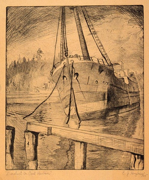 Derelict in Coal Harbour, a print by EJ Hughes, from the National Gallery of Canada. This drypoint on buff wove paper was dated 1935, and was a gift of the artist to the gallery. More work from the gallery's collection here.