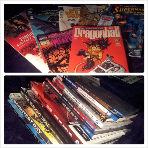 Free Comic Book Day Haul!We hit Kings Comics, Comic Kingdom & Kinokuniya Free Comics:- Zombie Cities - Violence Vs. Compassion- Batman Super Sampler- Star Wars- Infinity- Superman Last son of Krypton #1- Weapon X #84- Dragon Ball (for the BF)Comics I purchased (with massive discounts on errryyytthhaannngg)- Batman - Gates of Gotham- Wonder Woman - Gods and Mortals- X-men - Dark Phoenix Saga- Batman - Black Mirror- Superman - Earth One- Batman - A Death in the Family- Batman - The Black Glove- The Walking Dead - #3- Brightest Day- Batman - R.I.P.I also bought a copy of Batman & Robin #18 (Requiem) because… well, I had to.I also bought two figures (Does a POP Vinyl count as a figure? Well one's a figure anyway) too, which I'll post later on today :) Can you guess what I got?What did you get?