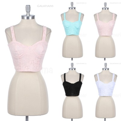 shop-cute:  Lace Crop Tank (Choose Color) $11.99