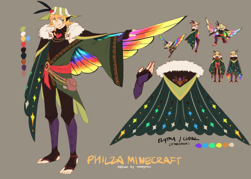 moneshii:  a philza design based on hummingbirds!  also hello! i'm yenii, and i'm new to mcyt tumblr! people might know me as moneyoniis too, i've heard good things so i'm here to vibe and post fanart every now and then. nice to meet you all! :D