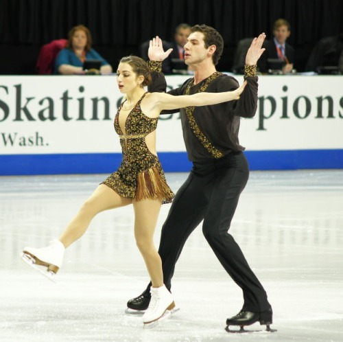 Marissa Castelli and Simon Shnapir skating to music by Jesse Cook for their short program at the 2010 US National Championships. Photo by trilby23.