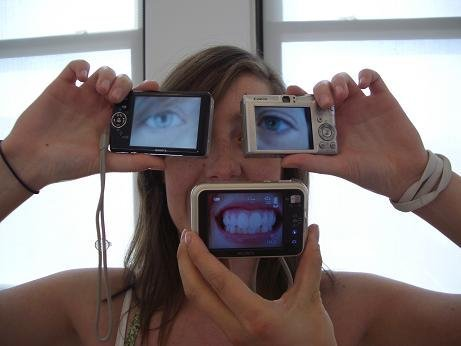 Sarah pushes Digital Picassos to the max with three viewing screen cameras.