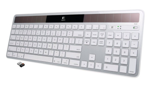 "Logitech wireless solar keyboard review Every now and then you come across a product that makes you want to kick back in your chair and say, ""finally!"". The Logitech wireless solar keyboard (with both Mac and PC versions) is just such a device. What makes this keyboard so perfect? Solar power means no battery woes. Never worry about your wireless keyboard running out of juice again Charge the keyboard with any light source — desk lamp, office light, or sunlight Quiet! The concave key cap design is super fast and super quiet — no more ""tick tick tick"" to drive you insane as you type Utilizes the tiny Logitech unifying receiver so you can pair this keyboard and any Logitech compatible mouse to your computer via the barely noticeable Unifying USB receiver At only 1/3"" thick, this keyboard adds style and sleekness to your workspace For Macs: Enjoy all of the familiar buttons and their standard layout"