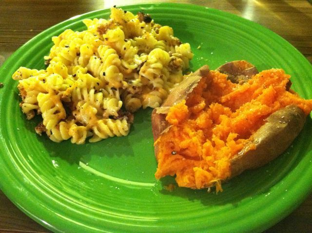 Groundhog night dinner was baked macaroni and (vegan) cheese and baked sweet potatoes.