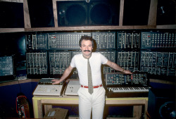 killleo:  Giorgio Moroder with his Moog modular system.