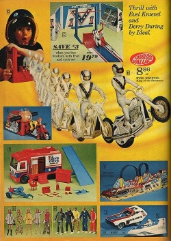 superseventies:  Evel Knievel action toys, 1974.